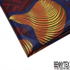 Wax Africain N°984-2: Motif pagnes africains oranges , jaunes et verts , Contour bleu marine, Fond rayé rouge et noir