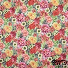 Coton demi natté imprimé digital motif fleurs multicolores Fond turquoise