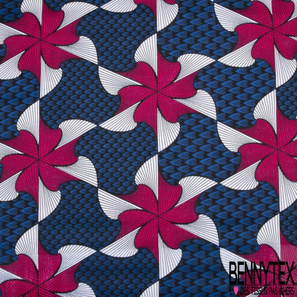 Wax Africain N°985: Motif fleurs en spiral roses et blanches rayées noir , Fond stylisé bleu et noir