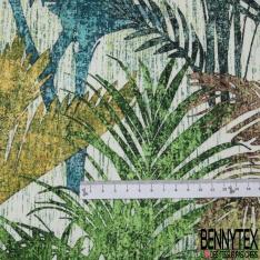 Coton demi natté imprimé digital motif plantes nuances de vert et d'orange Fond blanc cassé