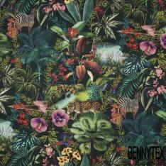 Coton demi natté imprimé digital motif animaux sauvages dans la jungle Fond vert impérial