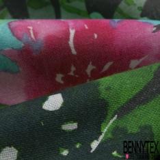 Coton demi natté imprimé digital motif nénuphar et fleur multicolore Fond gris foncé