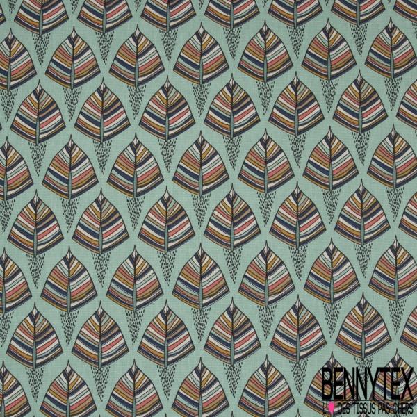 Coton Natté Imprimé motif feuilles ethniques fond vert givré