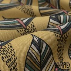 Coton Natté Imprimé motif feuilles ethniques fond moutarde