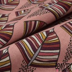 Coton Natté Imprimé motif feuilles ethniques fond rose incarnadin