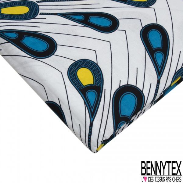 Wax Africain N°995-1: Motif plumes de paon bleus, jaunes et noirs , Fond blanc imprimé