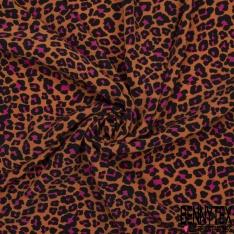 Crêpe Viscose Imprimé Motif léopard noire et fuchsia Fond ocre