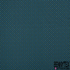 Fibranne Viscose imprimé petit motif géométrique vert et bleu marine Fond bleu cyan