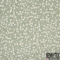 Fibranne Viscose imprimé façon lin motif fleurs stylisées blanches cassées Fond vert amande