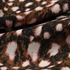 Crêpe Viscose Imprimé Motif léopard rose blanc et ocre Fond noir