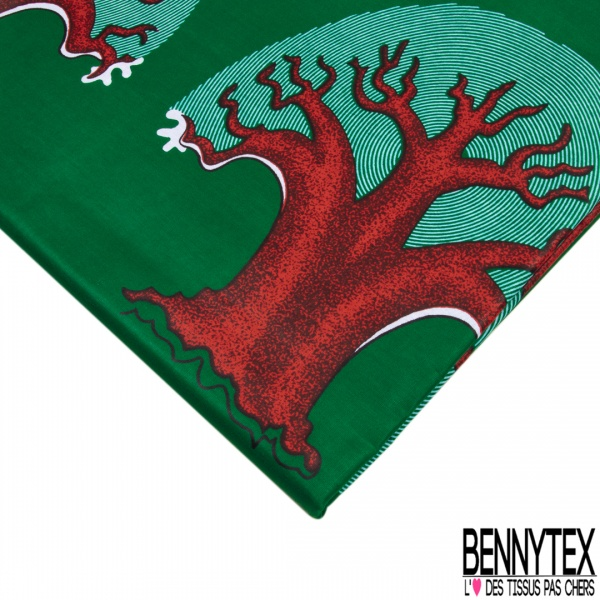 Wax Africain N°1003 Motif troncs rouges et feuillages originales Fond vert sapin