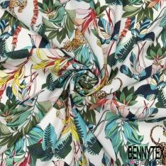 Satin Polyester Imprimé tigre dans la nature Fond blanc cassé