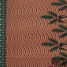Wax Africain N°1005 Motif épis de blé vert et ribambelle de gouttes de pluies Fond saumon pastel