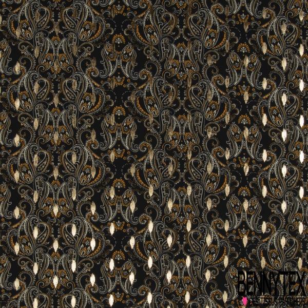 Microfibre Woolpeach Imprimé motif paisley avec petites plumes dorées Fond noir