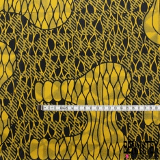 Wax Africain N°1006 Motif forme naive abstraite jaune Fond marbré noir jaune fantaisie