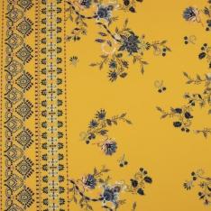 Crêpe Polyester Imprimé motif floral provinçal simple base Fond jaune paille