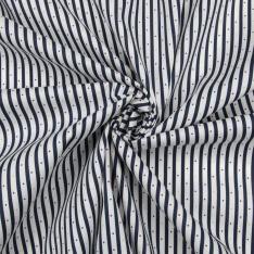 Popeline Coton imprimé rayure bleue marine fond blanc avec petits pois jaunes rouges et bleus