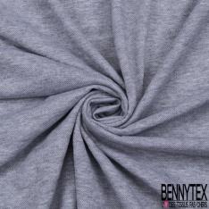 Jersey Coton Piqué gris chiné avec des rayures