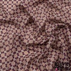 Pongé de Soie Imprimé motif vintage psychédélique Fond prune