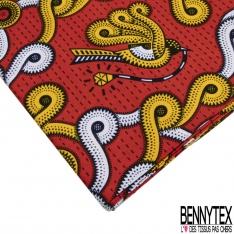 Wax Africain N°1046: Motif oiseaux fantaisistes jaunes blancs et marines Fond rouge pointillé