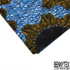 Wax Africain N°1070: Motif soleil naif rococo nuit jaune or Fond marbré bleu blanc