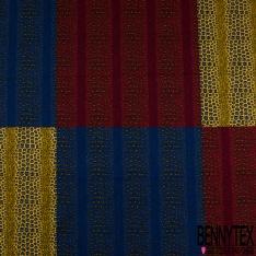 Wax Africain N°1071: Motif damier moucheté léopard moderne ton jaune rouge bleu noir