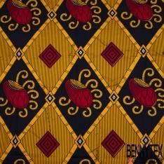 Wax Africain N°1075: Motif grand damier en biais ton jaune or noir rouge fantaisie