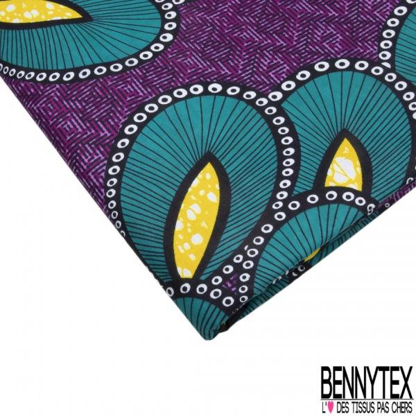 Wax Africain N°1085: Motif bouquet fantaisie bleu canard Fond violet fantaisie
