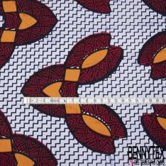 Wax Africain N°1094: Motif lapins naifs fantaisistes Fond blanc zigzags bleus