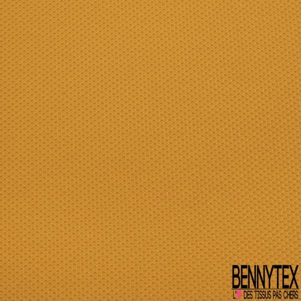 Maille 3D Gaufrée à Motif Quadrillé Ton sur Ton Moutarde