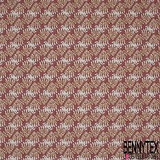 Coton Natté Imprimé motif bouquet de feuille naive Fond rouge corail pastel