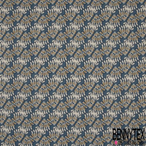 Coton Natté Imprimé motif bouquet de feuilles naive Fond bleu indigo