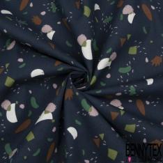 Coton Natté Imprimé motif formes abstraites multicolores Fond marine
