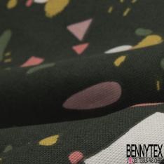 Coton Natté Imprimé motif formes abstraites multicolores Fond kaki