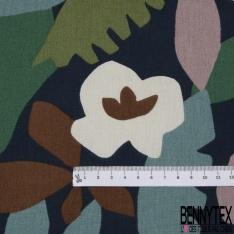 Coton Natté Imprimé motif feuille cubique Fond marine