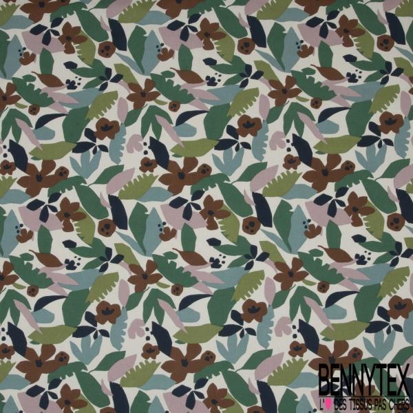 Coton Natté Imprimé motif feuille cubique Fond écru