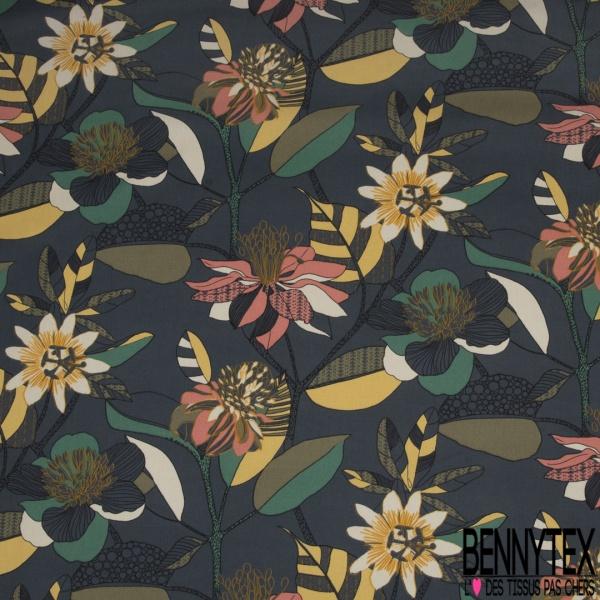 Coton Natté Imprimé motif floral utopiste Fond bleu navy