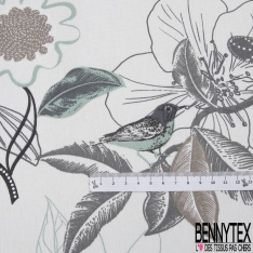 Coton Natté Imprimé motif floral utopiste ton gris Fond blanc