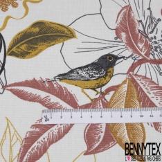 Coton Natté Imprimé motif floral utopiste ton taupe Fond blanc