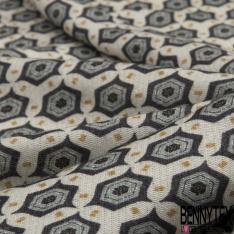 Fibrane Gaz viscose imprimé petits motifs originaux gris bleus givrés noirs et moutardes Fond écru
