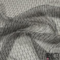 Mousseline krinkle de soie imprimé petits cœurs blancs et gris clair Fond gris foncé