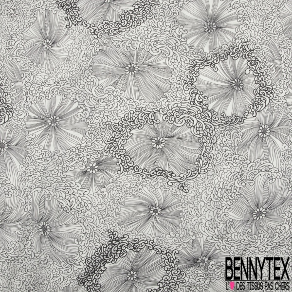 Mousseline voile de soie imprimé floral noir Fond blanc