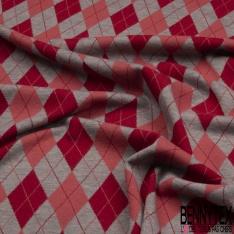 Maille Viscose Polyester Coton Motif Amérindien Rouge Blanc fond Marine