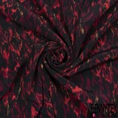 Crêpe Viscose Imprimé Motif vagues de peinture rouge Fond noir