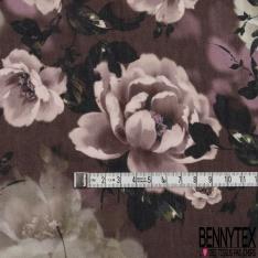 Crêpe Viscose Imprimé leger Motif fleurs ton Taupe Rose Fond Prune