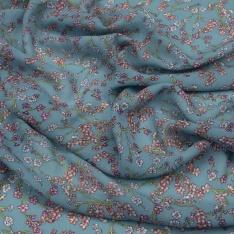 Crêpe Georgette viscose imprimé floral Fond Bleu