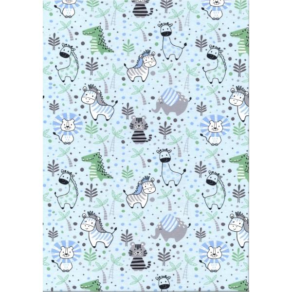 Jersey Coton Elasthanne motif animaux dans la jungle fond bleu ciel