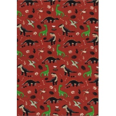 Jersey Coton Elasthanne motif dinosaures Fond rouge