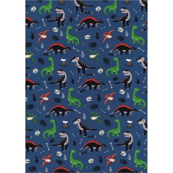 Jersey Coton Elasthanne motif dinosaures Fond Bleu