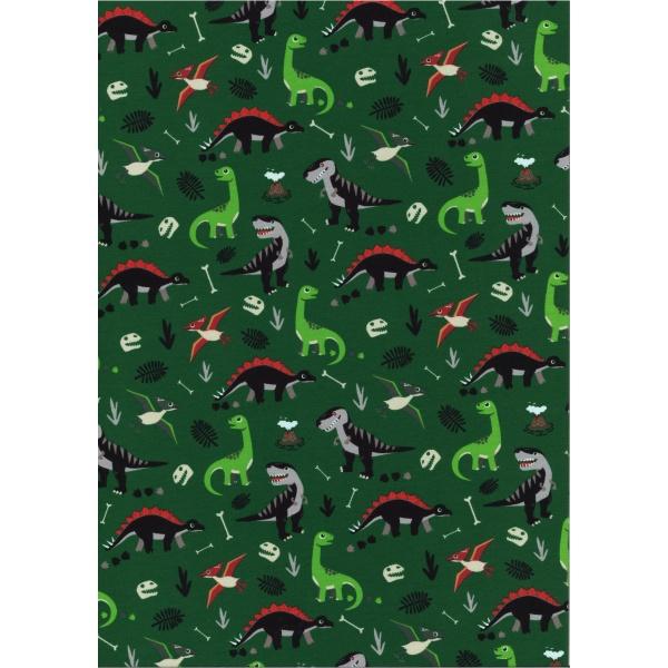 Jersey Coton Elasthanne motif dinosaures Fond vert sapin